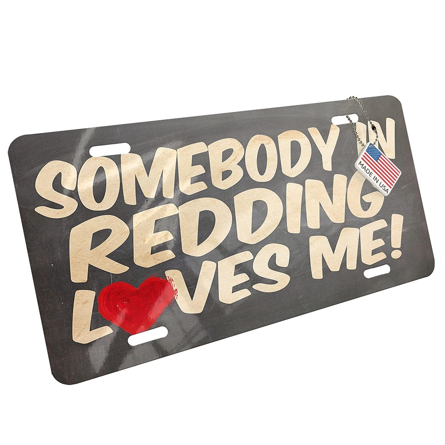 Amazon com neonblond metal license plate somebody in redding loves me california automotive