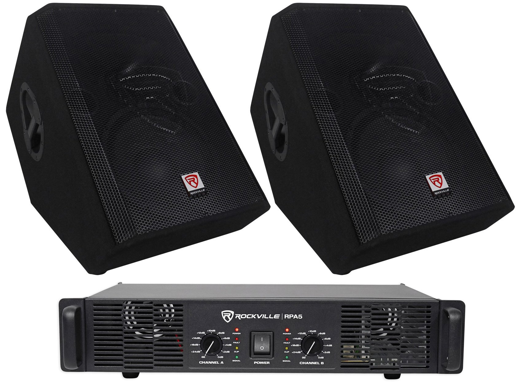 2) Rockville RSM12P 12'' 2000 Watt Passive Stage Floor Monitor Speakers+Amplifier by Rockville