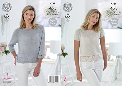 bfd1e66ad Image Unavailable. Image not available for. Colour  King Cole 4788 Knitting  Pattern Womens Raglan Tops ...