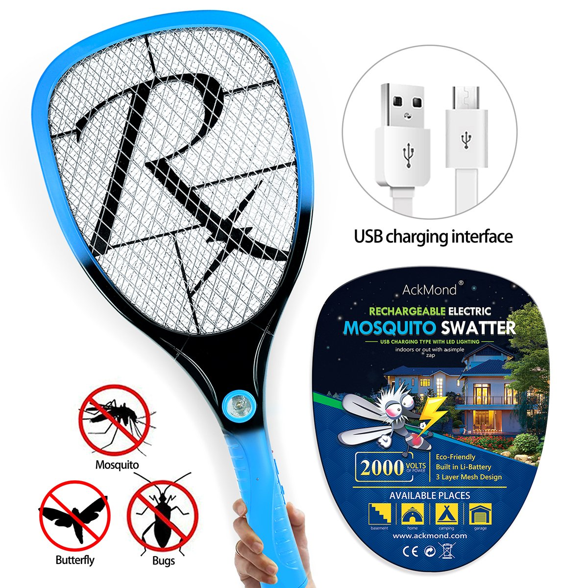 Samoa USB Mosquito Swatter dell'insetto della di Zapper Swatter racchetta ricaricabile fulmina con nuova impugnatura AckMond