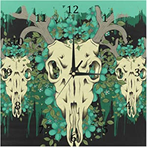 AISSO Wall Clocks Deer Skull Background Battery Operated Number Clock for Bedroom Living Kitchen Office Home Decor Silent & Non-Ticking