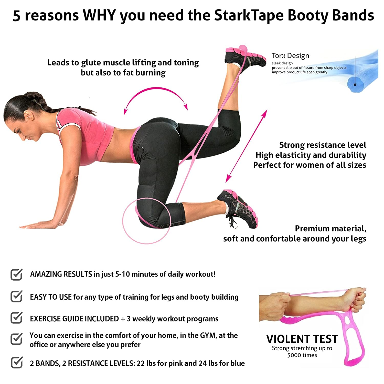 Amazon Com Starktape Booty Bands Resistance Belt System Fitness