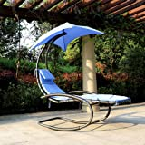 iKayaa Hanging Chaise Lounger Swing with Canopy Air Porch Garden Pool Rocking Hammock Chair Blue