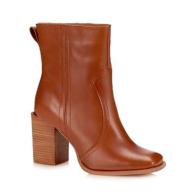 8e406a5eb5 Debenhams Faith Womens Tan Leather 'Bice' Block Heel Boots: Amazon ...