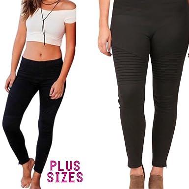 39a10f8694a16 Delia + Jade Plus Size Women s Moto Leggings Ankle Zipper Jeggings Stretchy  Biker Pants Pleated (