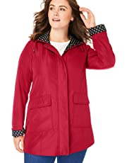 Woman Within Women's Plus Size Raincoat in New Short Length with Fun Dot Trim
