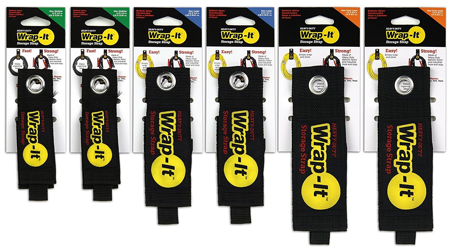 (6 Pack Medium) - Wrap-It Storage Straps (6 Pack Medium) Hook and Loop Organiser for Extension Cords Hoses Rope Cables Lights for Home Garage Shop Truck RV Boat B01N4SI8RJ 12926 6 Pack Medium  6 Pack Medium