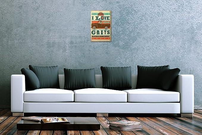 Retro Tin Sign Wall Decor Plate  I love Grits car Girl Metal Wall Plate