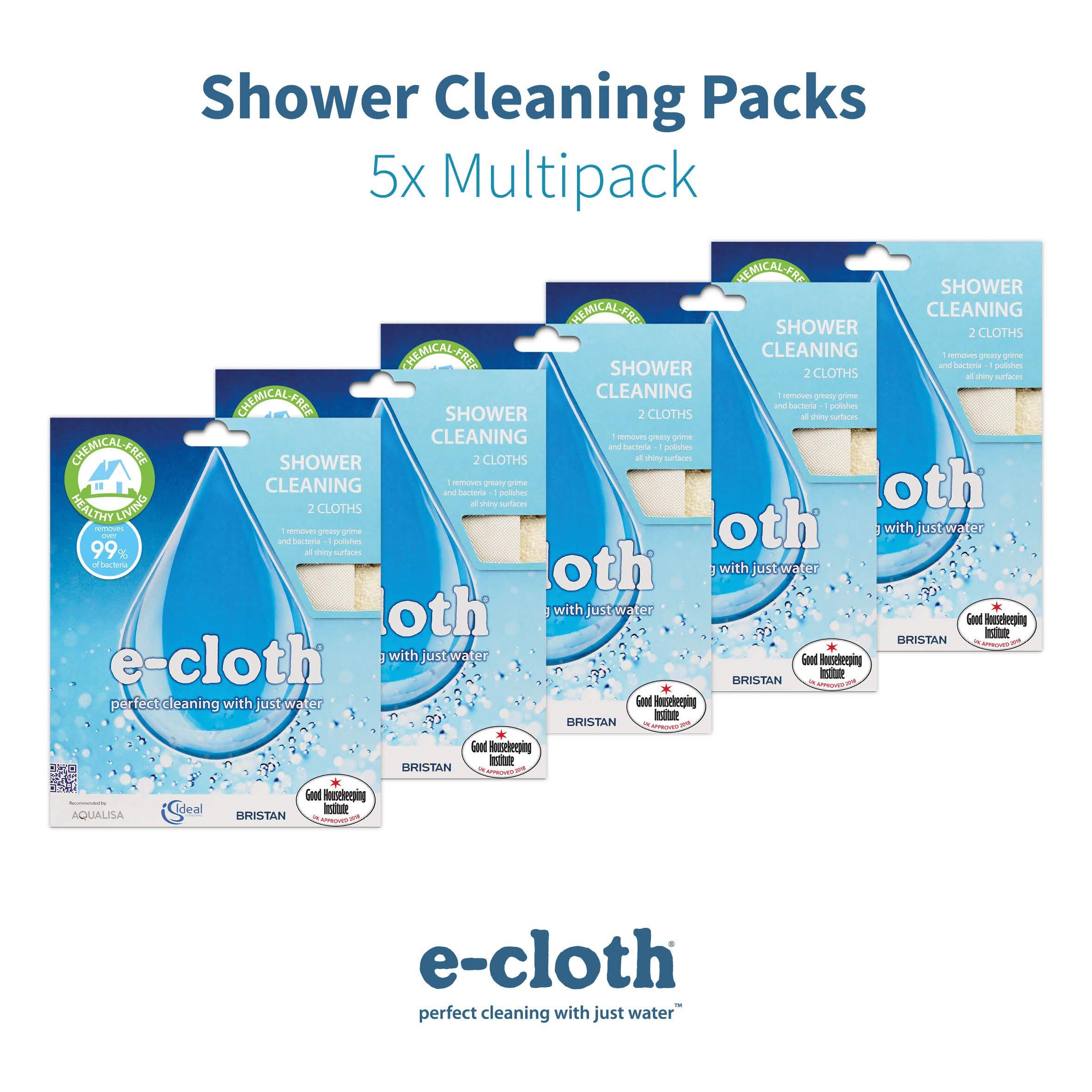 E-Cloth Shower (2 Cloths) -5 Pack, Cream, 32x32cm by E-Cloth