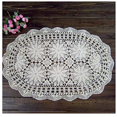 wshine Crochet algodón sofá funda para mesa mantel de encaje ...
