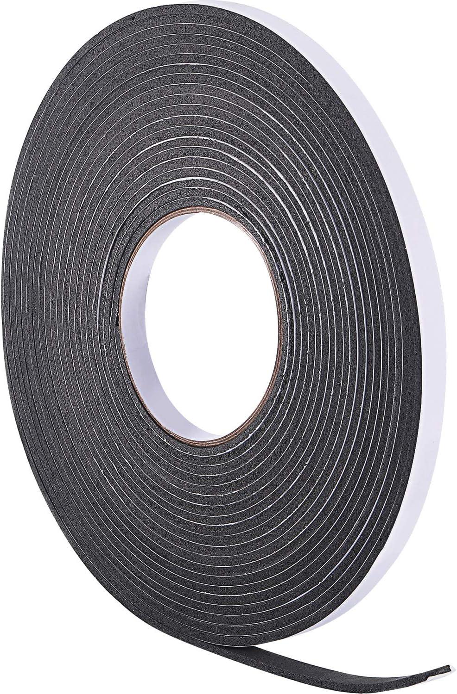 10 m de Burletes de Espuma Cinta de Sellador para Sellado de Puerta Ventana (3 mm, Negro)