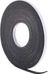 Hestya 10 m Foam Draught Excluder Weather Strip Tape Weatherstrip Weather Seals for Window Door Sealing (3 mm, Black)