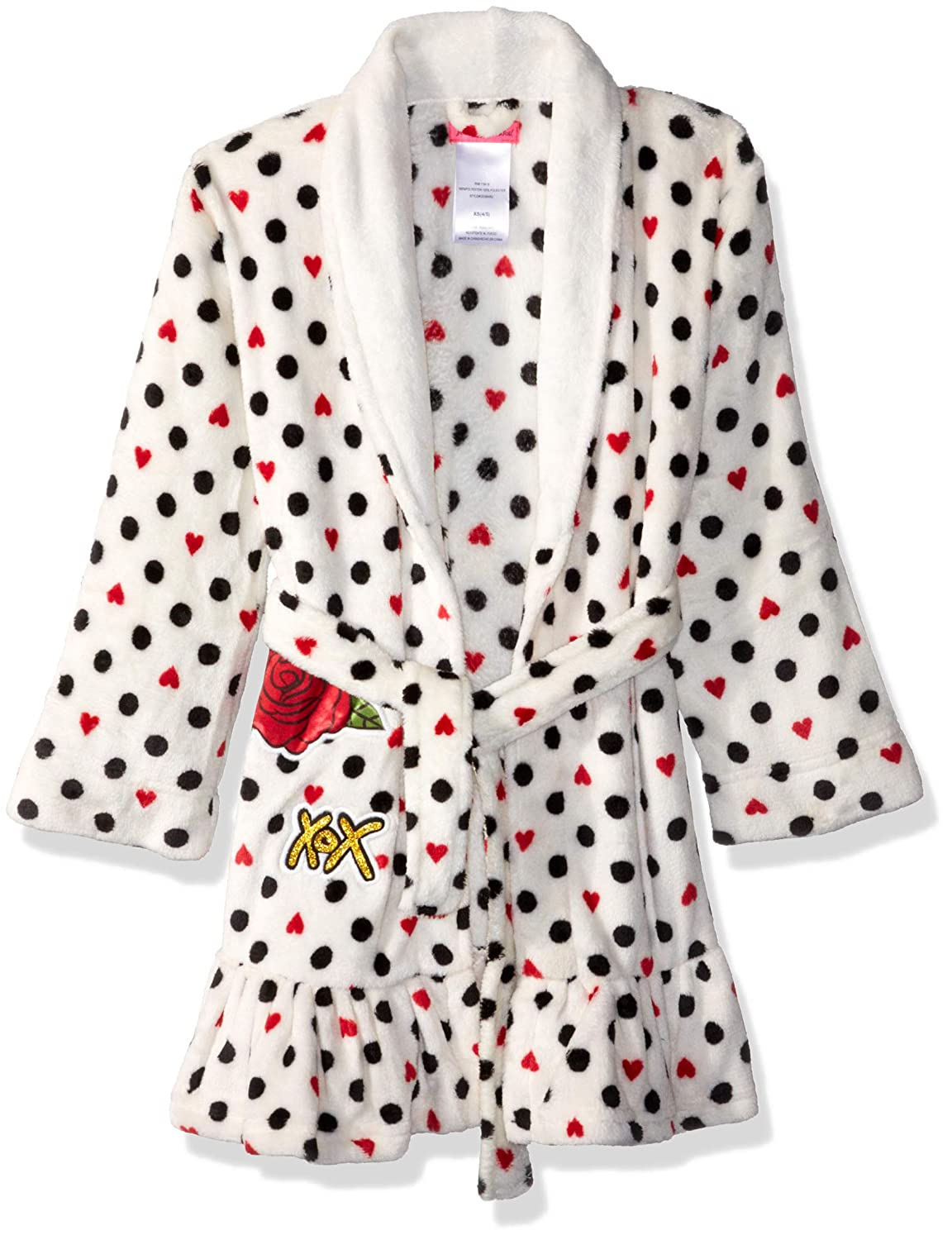 Betsey Johnson Girls' Big Velvet Fleece Plush Robe
