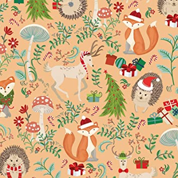"24/"" x 6/' Woodland Winter Bear Holiday Gift Wrapping Paper Flat Flat Sheet"
