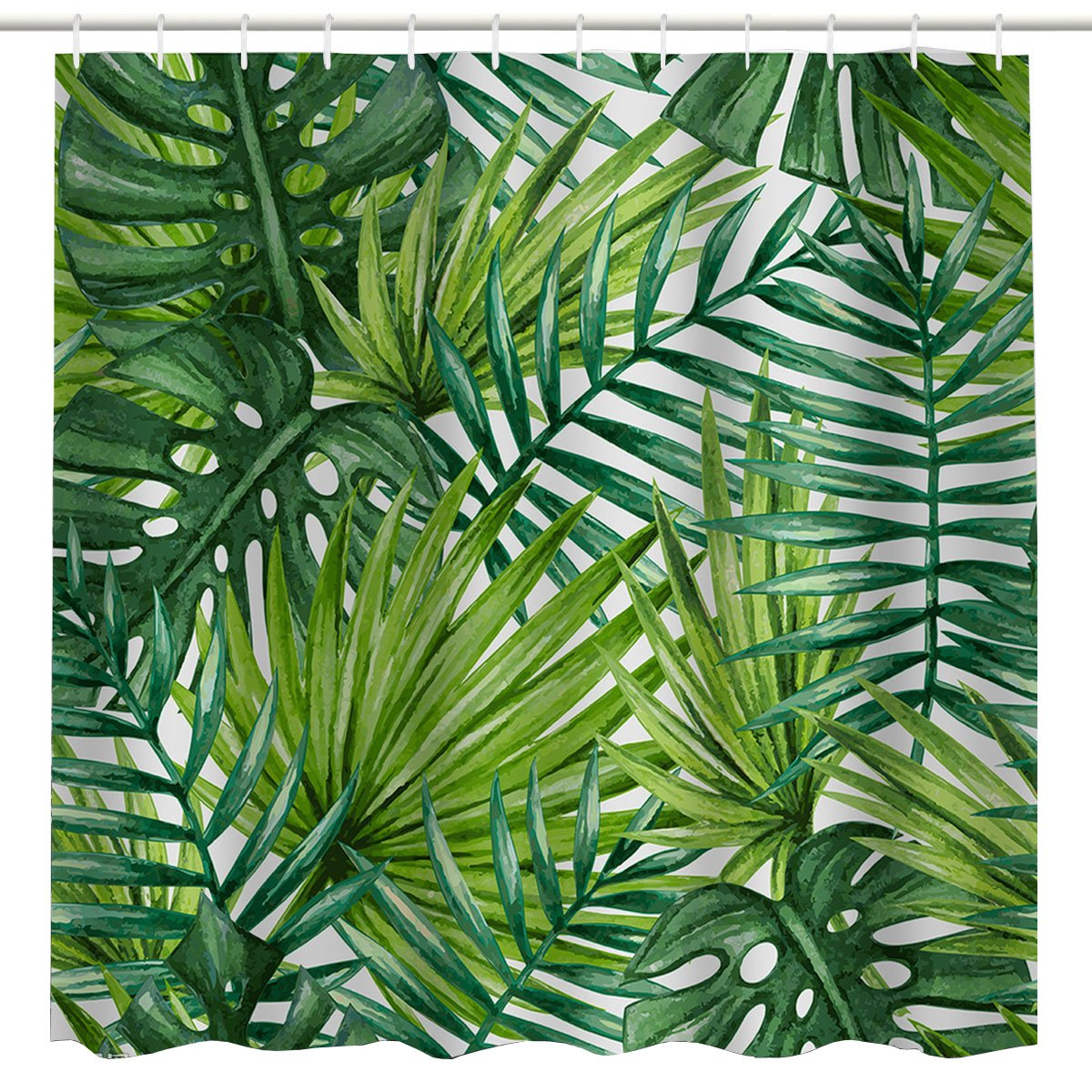 Broshan Leaf Print Shower Curtain Fabric Tropical Palm Leaves Pattern Hawaiian Plant Bathroom Decoration Green Natural Waterproof Fabric Bathroom