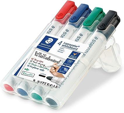 Image ofStaedtler 351 WP4 - Rotuladores para pizarra blanca Lumocolor, inodoro, secado rápido y recargable, paquete de 4 colores