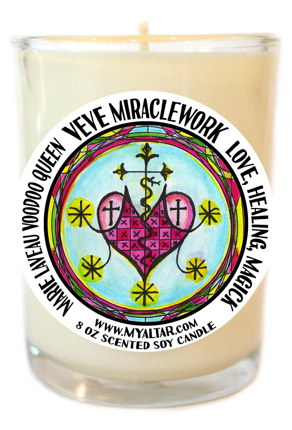 Marie Laveau Voodoo Queen Healing Love Magic Veve 8 Oz Glass Candle