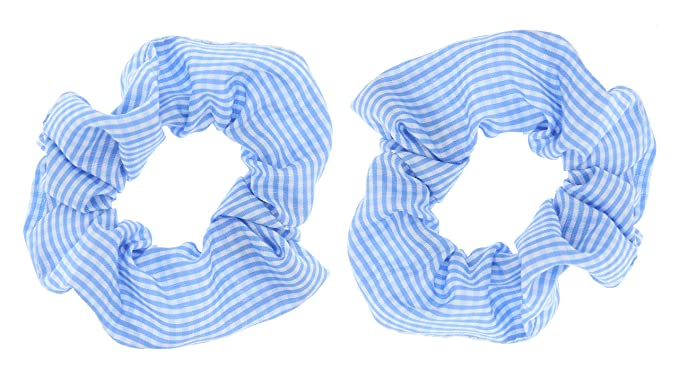 Blue /& White Kids Gingham Scrunchies x 2