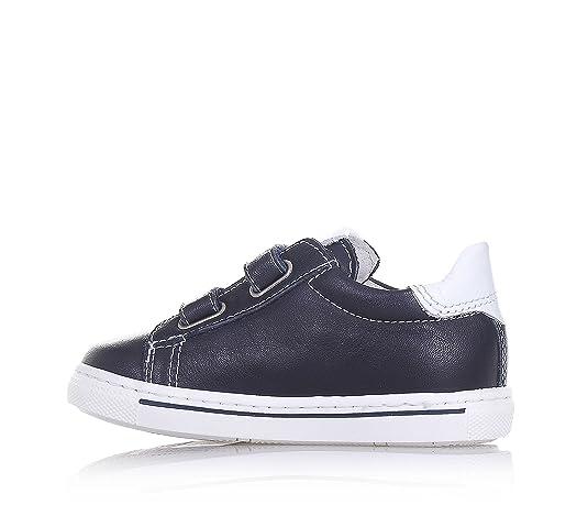 Nero Giardini Chaussure Bleue en Cuir, Made in Italy, avec Double Fermeture en Velcro, Pièce Blanche à l'Arrière, Garçon, garçons-20