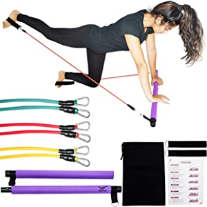 IM UNLIMITED Pilates Bar Kit with Resistance Bands, Portable Workout Equipment, Home Gym Stretch Kit, Full Body Exercise Stick, Home Fitness, Portable Fitness, Toning Bar, Exercise Bar,Barre