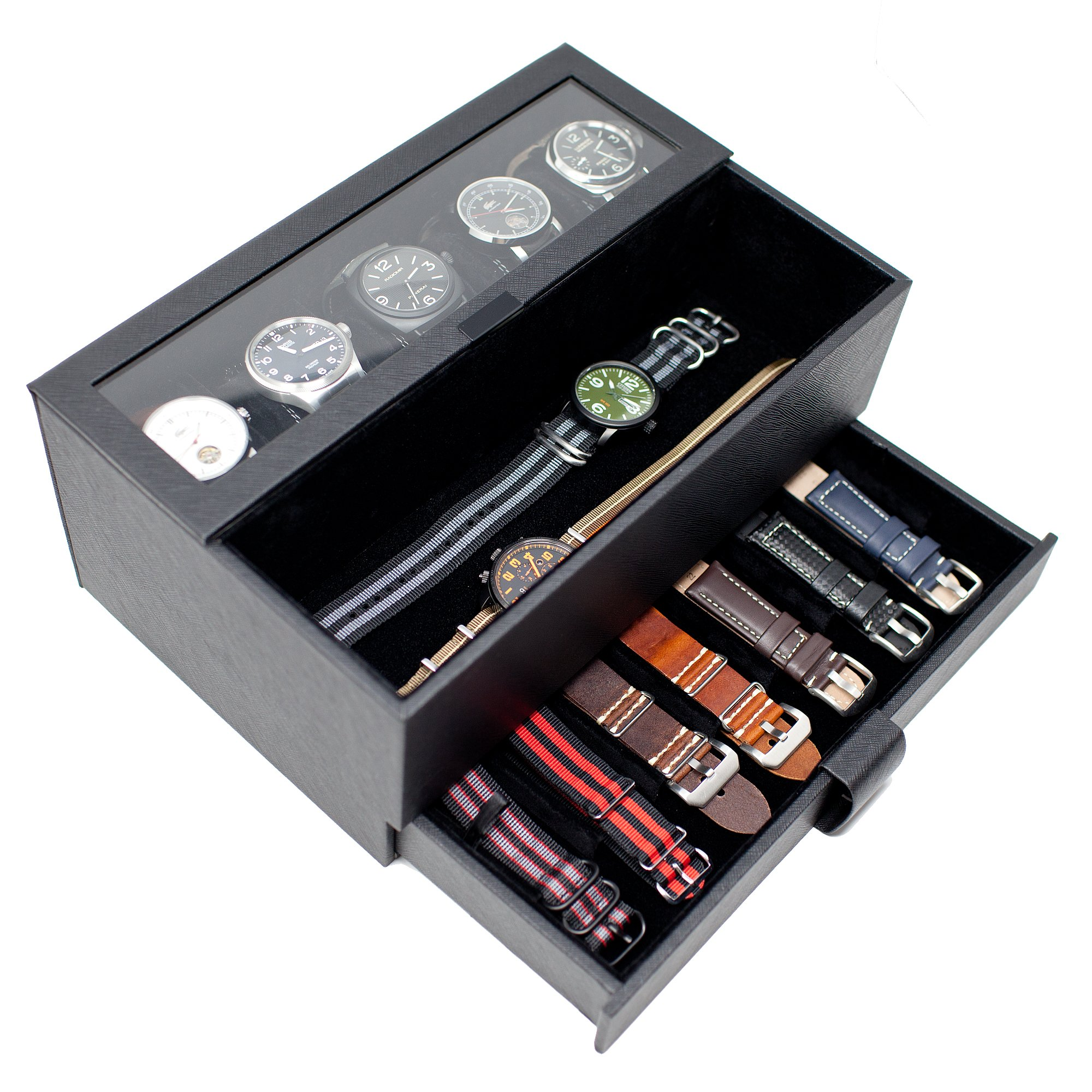 Caddy Bay Collection Watch Box w/Removable Watch Band Display Case & Valet Tray Holds 5 Watches - Black