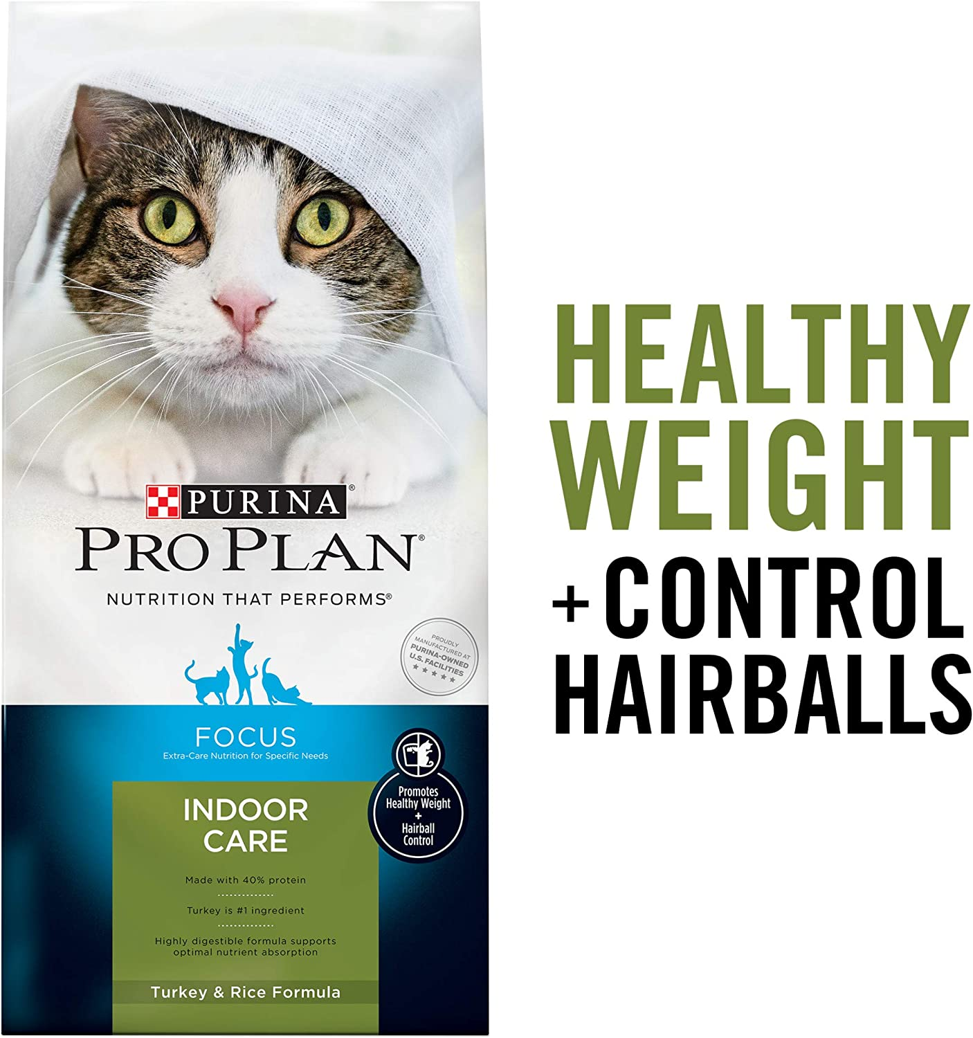 Purina Pro Plan Hairball, Healthy Weight, Indoor Dry Cat Food, FOCUS Indoor Care Turkey & Rice Formula - 7 lb. Bag