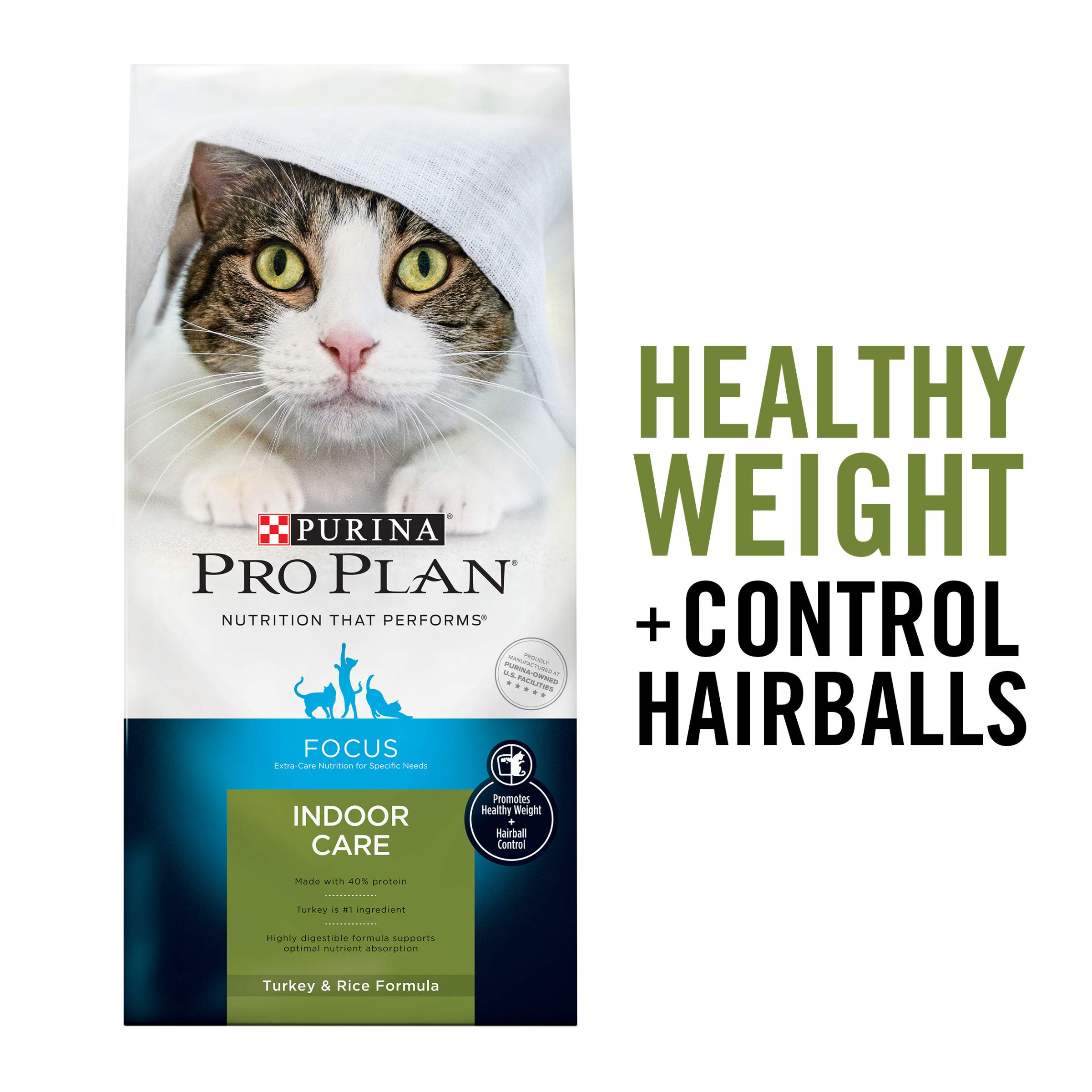 Purina Pro Plan Hairball, Healthy Weight, Indoor Dry Cat Food, FOCUS Indoor Care Turkey & Rice Formula - 16 lb. Bag by PURINA Pro Plan