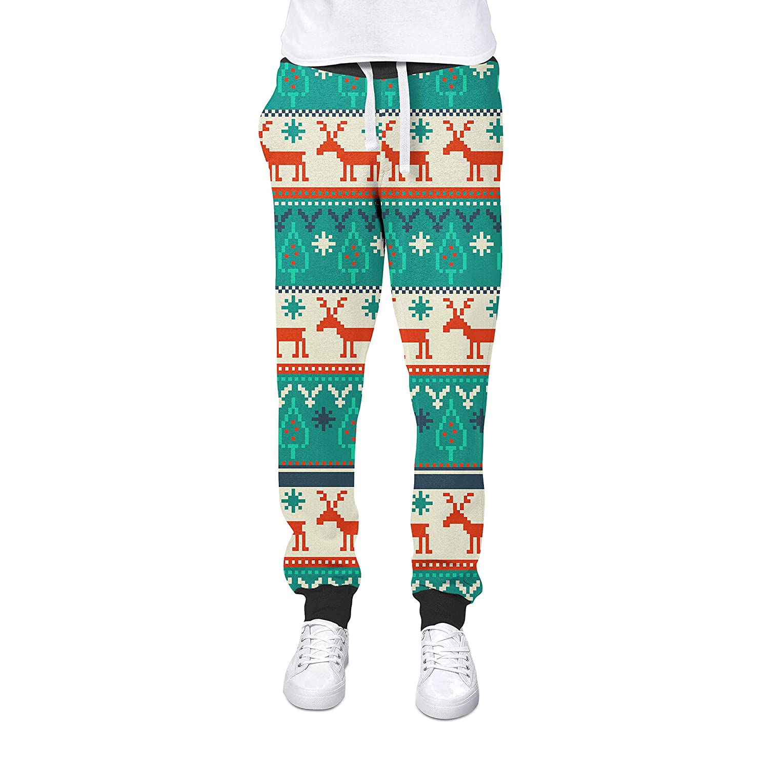 de62761545ca3 Queen of Cases Ugly Christmas Sweater Cuffed Joggers Sweatpants Jogging  Bottoms at Amazon Women's Clothing store: