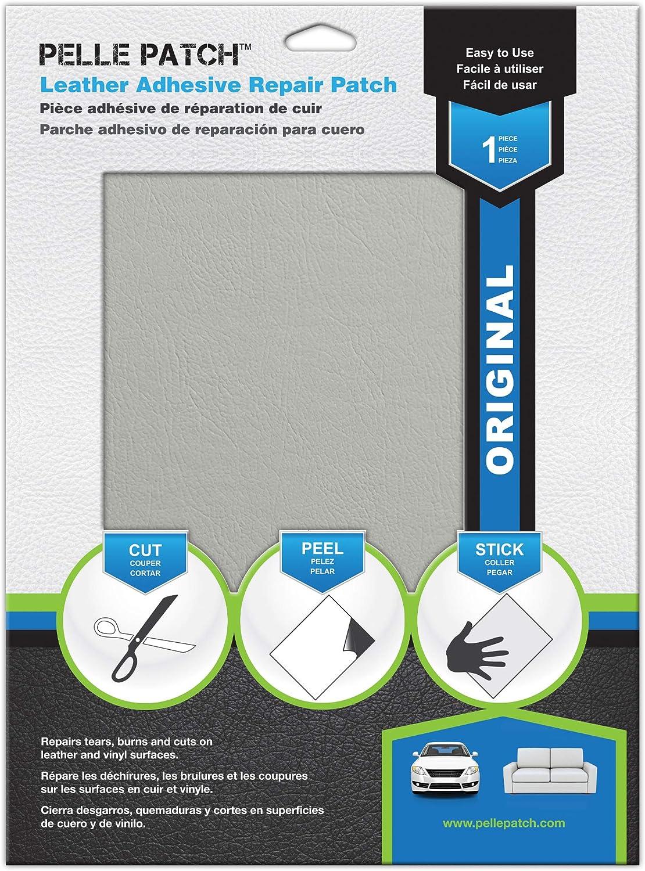 Pelle Patch - Leather & Vinyl Adhesive Repair Patch - 25 Colors Available - Original 8x11 - Light Grey