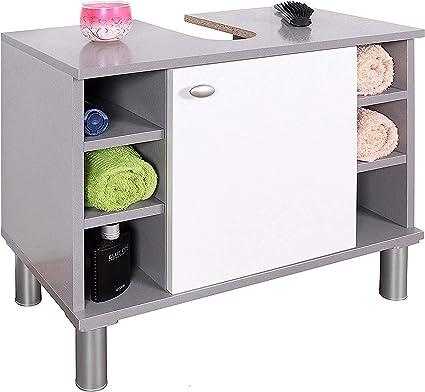 RICOO WM100-PL-W Mueble baño bajo Lavabo 60x54x32cm Armario Auxiliar pequeño Estantería Debajo lavamanos Toallero Madera Blanca y Gris Platino