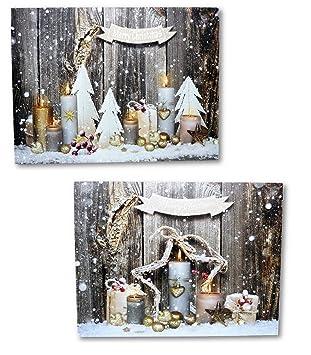 Beleuchtete Bilder Weihnachten.2 Led Wandbilder Weihnachten Merry Christmas Kerzen Beleuchtet Bild Je 40 X 30 Cm Leinwand