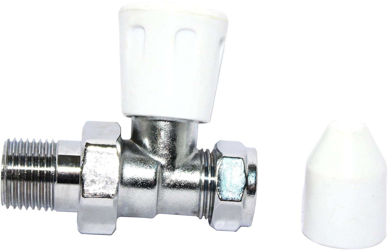 Plumb-Pak Robinet de radiateur droit avec 1 molette et 1 capuchon de robinet d'arrêt à cache-entrée 15 mm