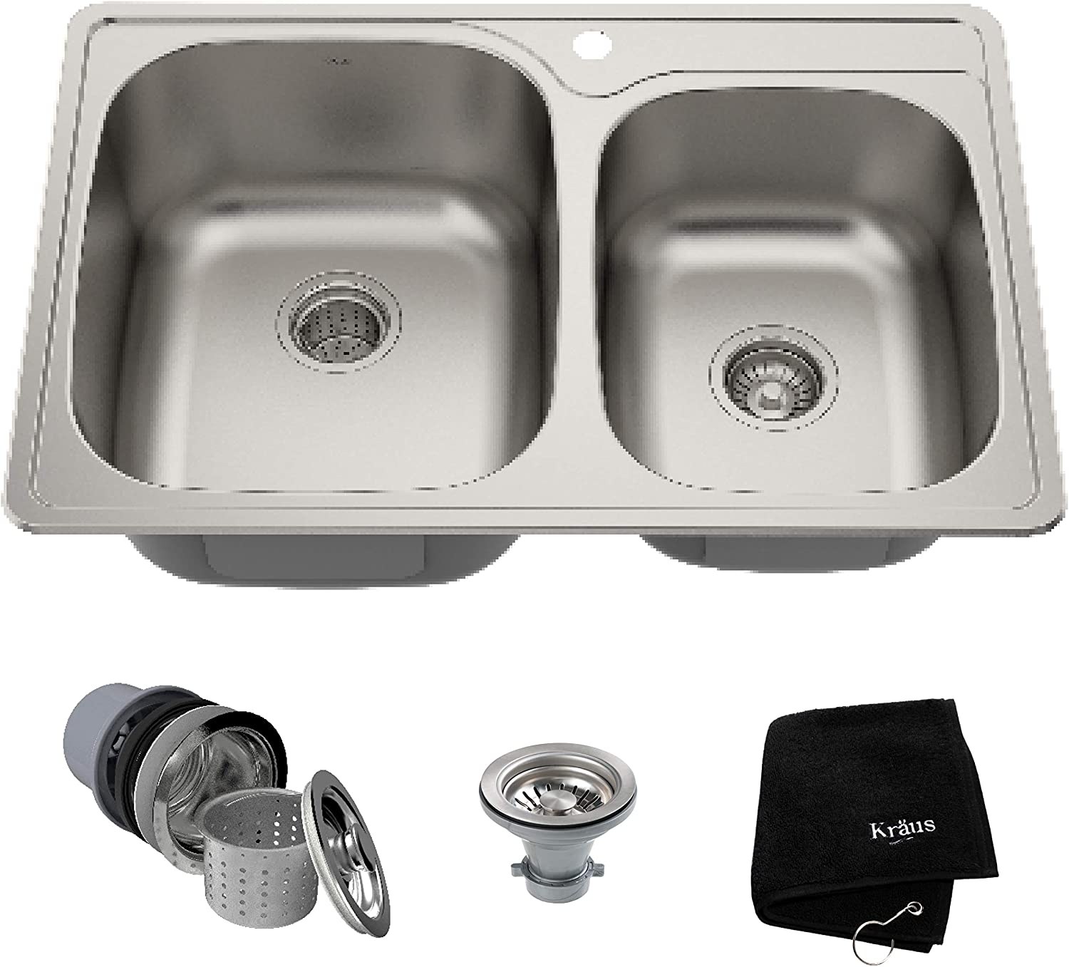 Kraus Ktm32 Premier Kitchen Sink 33 Inch Double Bowl 60 40 Amazon Com