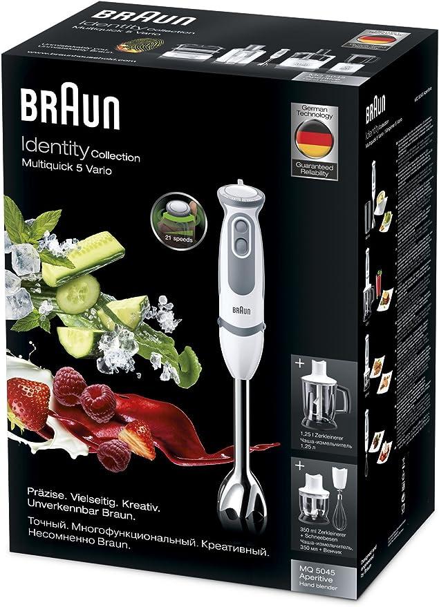 Braun Minipimer 5 MQ5045 Aperitif - Batidora de mano, 750 W potencia, 21 velocidades, vaso medidor 0,6l, campana anti-salpicaduras, accesorios monta-claras, picador y varillas incluidos, blanco y gris: Amazon.es: Hogar