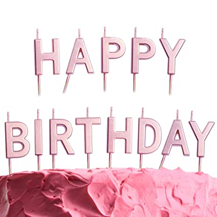 GET FRESH Pink Happy Birthday Candles Set \u2013 13 Count Rose Gold Letter  Birthday Candles for Cake \u2013 Elegant Alphabet Candles for Birthday Party \u2013  Unique