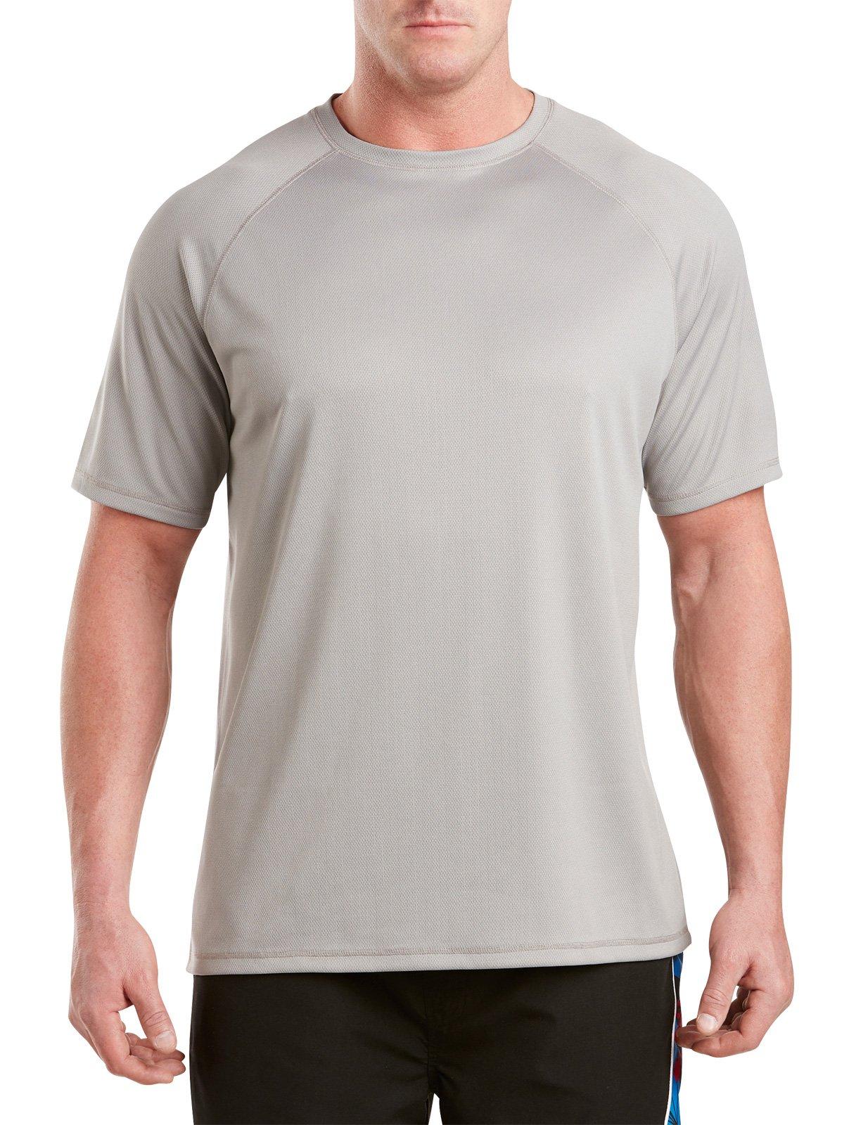 Harbor Bay by DXL Big and Tall Swim Rash Guard T-Shirt, Grey 5XLTall by Harbor Bay