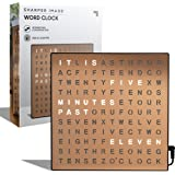 SHARPER IMAGE Light Up Electronic Word Clock, Copper Finish with LED Light Display, USB Cord and Power Adapter, 7.75in Square