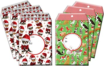 8 assorted Christmas gift bag and Bottle bags Dog Cat Robin Xmas Tree designs