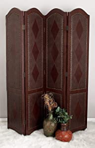Deco 79 Traditional Wood and Faux Leather 4-Panel Room Divider, 71