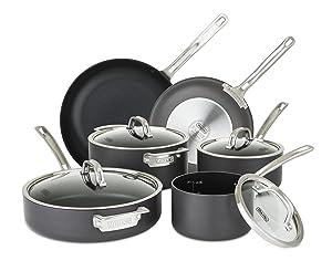 Viking 40051-9910 Hard Anodized Nonstick Cookware Set, 10 Piece, Gray