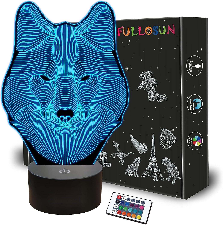 Laser Engraved Acrylic Wolf Light