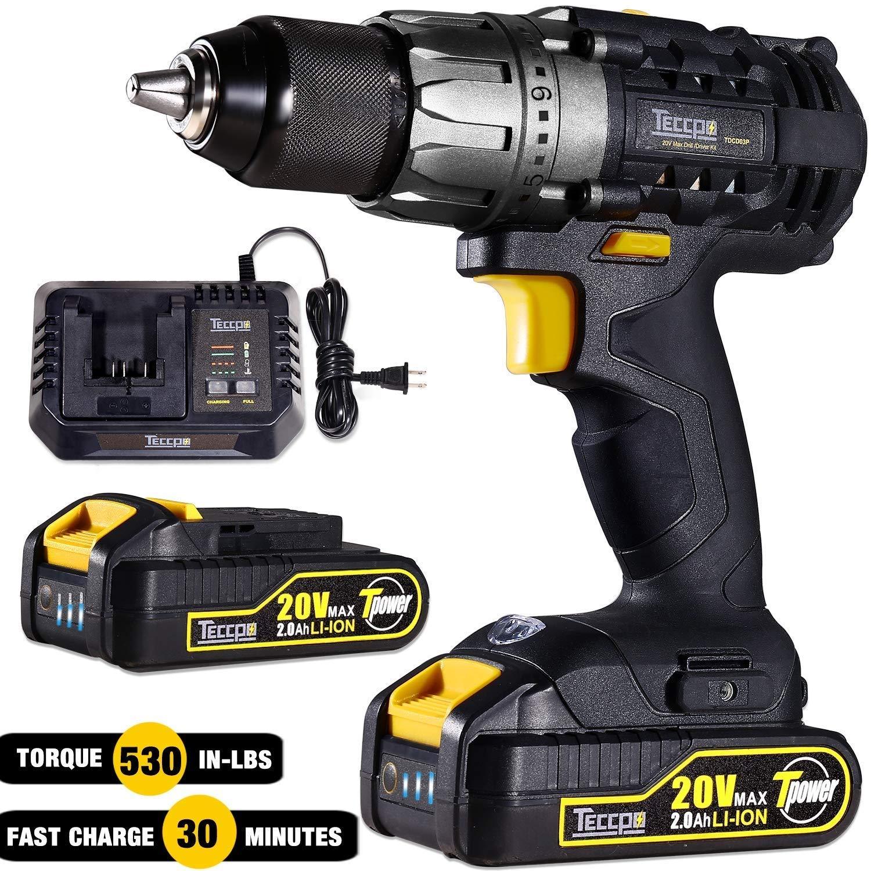 "Cordless Drill, TECCPO 20V 60Nm Max Power Drills with 2 Batteries 2.0Ah, 30Min Fast Charger, 24+1 Torque Setting, 1/2"" Keyless Chuck, 2-Speed Adjustment, 29pcs Accessories - TDCD03P"