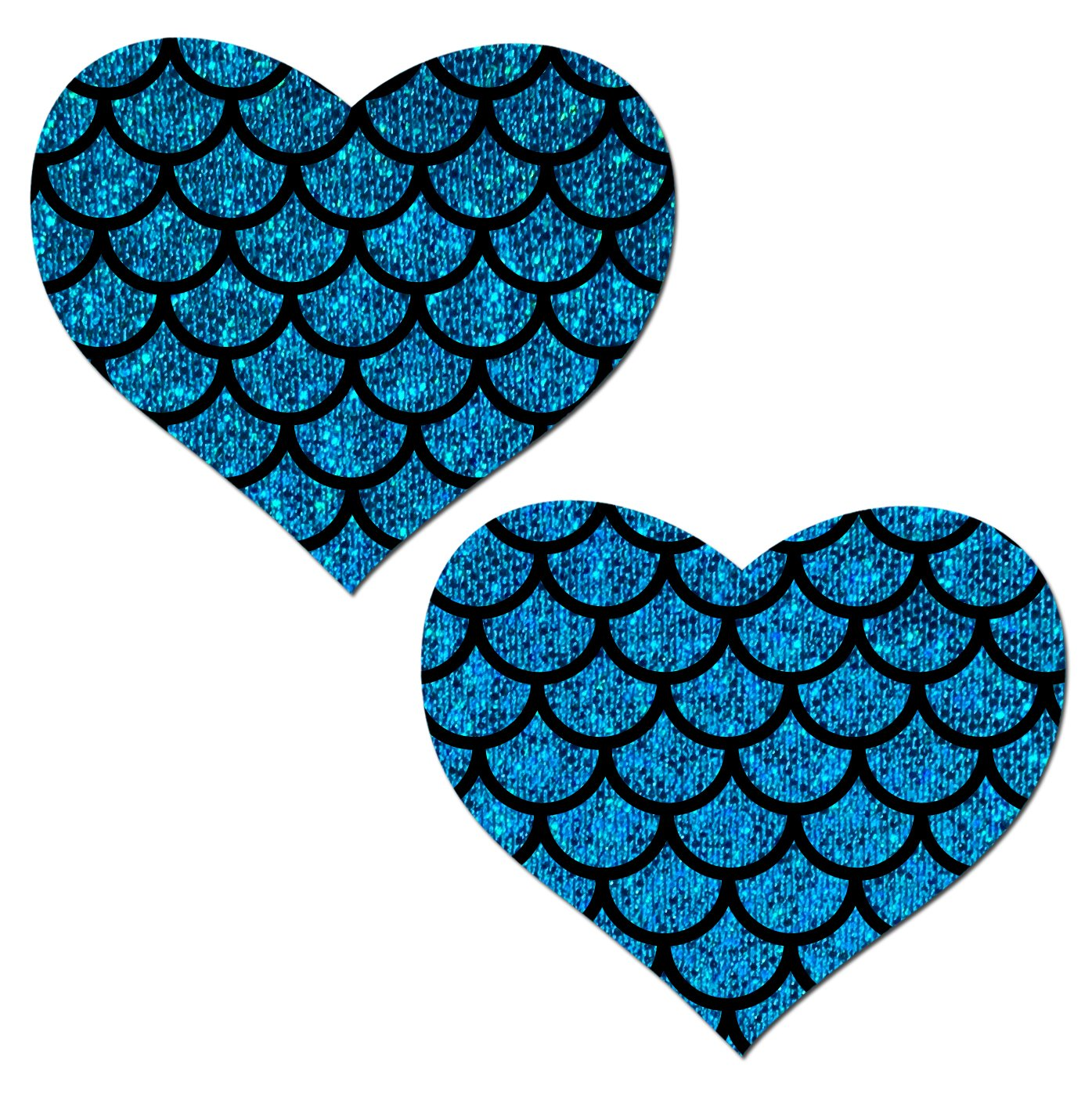 Turquoise Glitter Heart with Mermaid Scales overlay Nipple Pasties by Pastease® o/s HRT-GLT-TQ-SBK