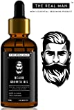 Beard Growth Oil by THE REAL MAN. Men's Mustache & Beard Growth Oil,100% Natural & Organic, Conditioner & Softener for Men,50ml. Beard Care With Best Beard Oil - For Best Beard Look.