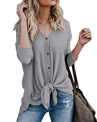 80d877904a8 TIMOCHALA Womens Waffle Knit Tunic Blouse Tie Knot Henley Tops Loose  Fitting Bat Wing Plain Shirts at Amazon Women s Clothing store