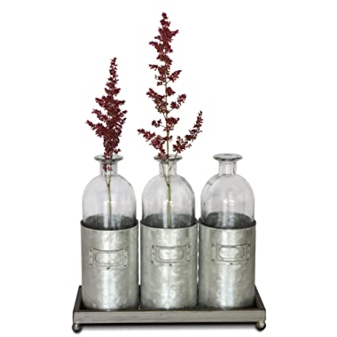 Glass Vases Metal Sitting Holder for Table Top, (Tall, Tin Box, Triple Vase, Galvanized, Milk Bottle, 12 inches) | by Urban Legacy