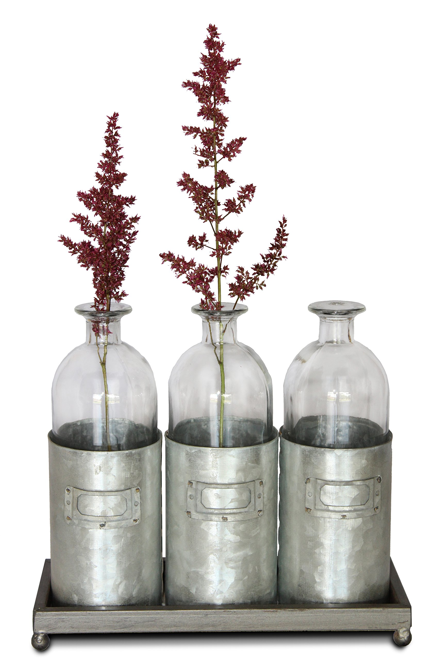 Glass Vases Metal Sitting Holder for Table Top, (Tall, Tin Box, Triple Vase, Galvanized, Milk Bottle, 12 inches) | by Urban Legacy by Urban Legacy