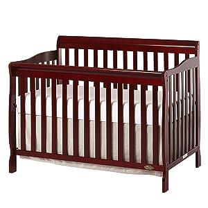 Dream On Me Ashton 5 in 1 Convertible Crib, Cherry