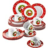 VEWEET 30-Piece Ceramic Dinnerware Set Porcelain Christmas Santa Claus Pattern Plate and Bowl set with Dinner Plate…