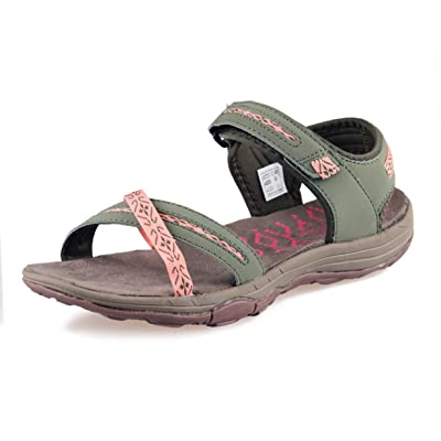 GRITION Women Hiking Sandals Flat Sport Walking Water Shoes Open Toe Beach Adjustable Outdoor Summer Beige Blue Green | Sport Sandals & Slides